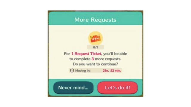 Animal Crossing Pocket Camp Request Ticket