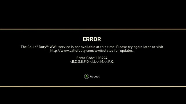 Call of Duty WW2 Error Code 103294