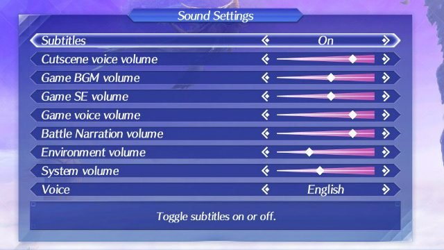 Xenoblade Chronicles 2 Japanese Voice Menu
