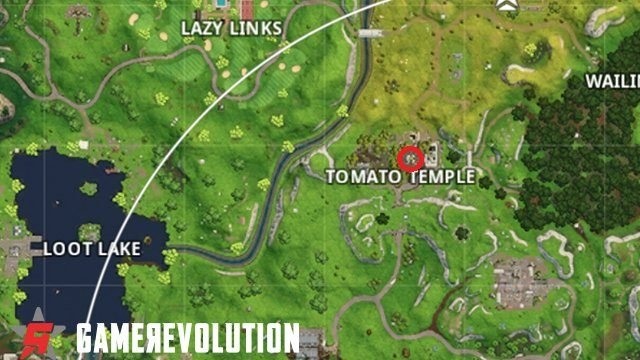fortnite week 8 challenges road trip temple tower banner location