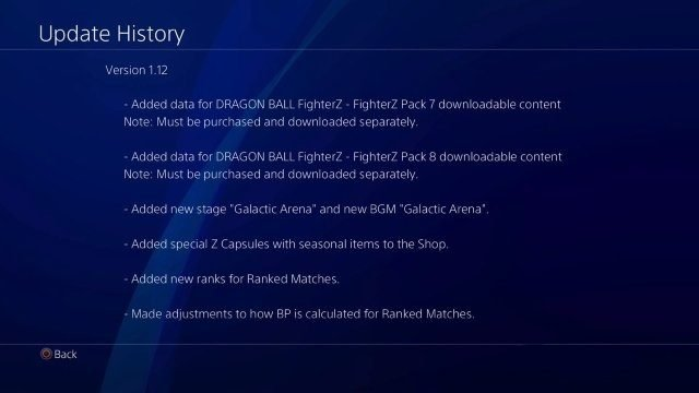 Dragon Ball FighterZ 1.12 update