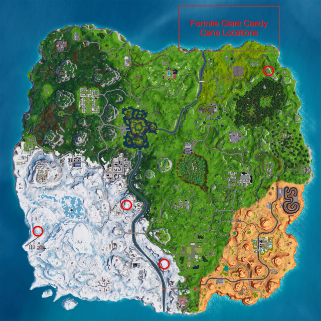 Fortnite Candy Cane Locations Map