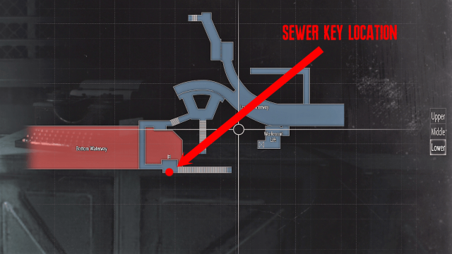 Resident Evil 2 Sewer Key Location Map