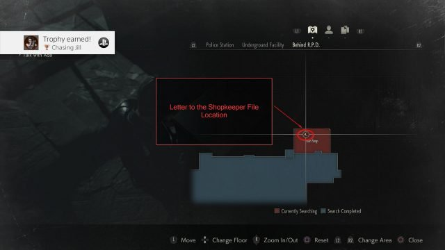 RE2 Chasing Jill Letter Location Map
