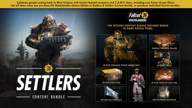 Fallout 76 Wastelanders NPC release date Settlers Raiders content bundles