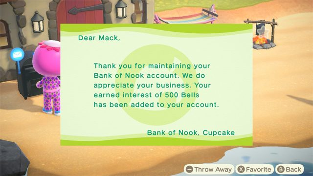 Animal Crossing: New Horizons Bank of Nook interest rate