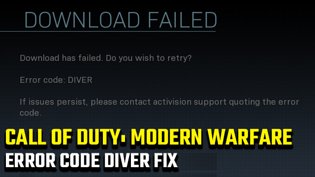 Call of Duty: Modern Warfare Error Code Diver