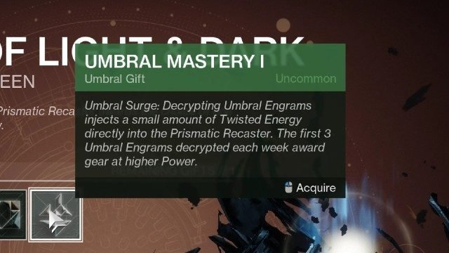 Destiny 2 Twisted Energy Umbral Mastery I